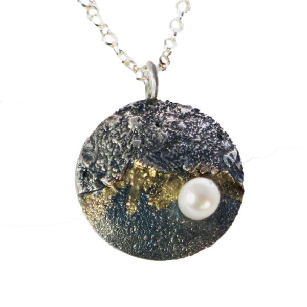 Silver & Gold Moonstone Necklace with Pearl