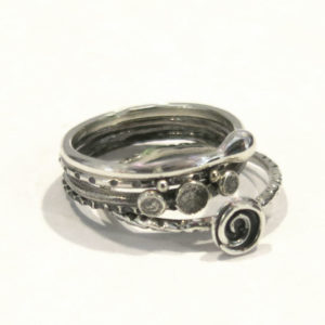 Set of 5 Sterling Silver Stack Rings