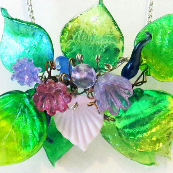 Lamp Worked Glass Leaves And Floral Pendant