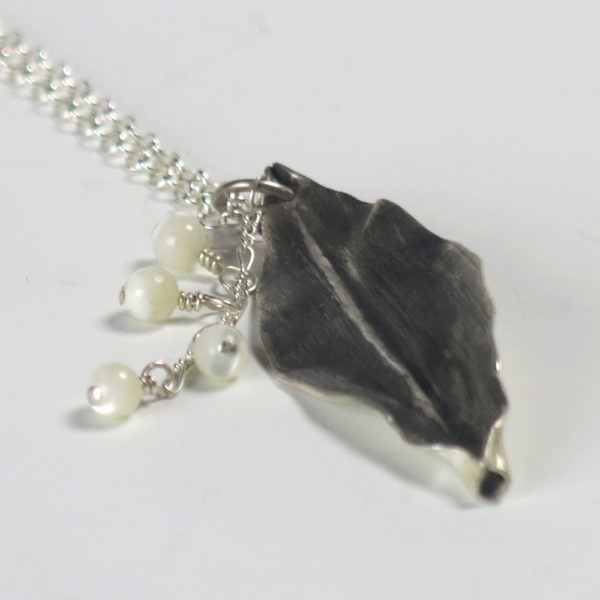Lily Of The Valley Sterling Silver Pendant with Hanging Pearls