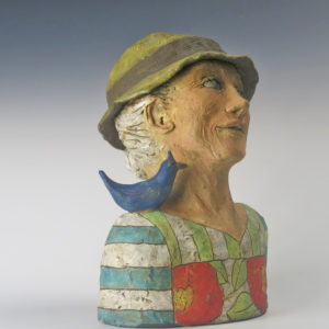 Clay Figure Sculpture with Bluebird