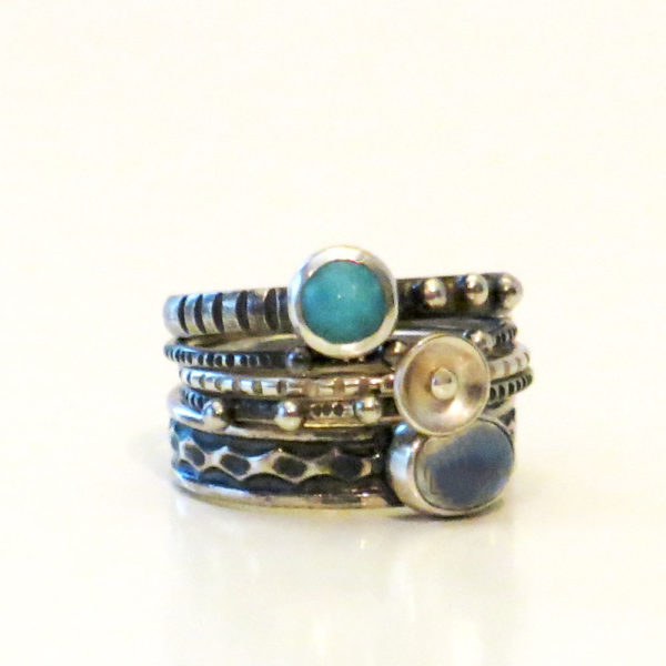 Set Of Sterling Silver Rings With Amazonite And Rainbow Moonstone