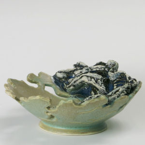 "8"" Tan and Blue Textured Clay Wave Bowl"