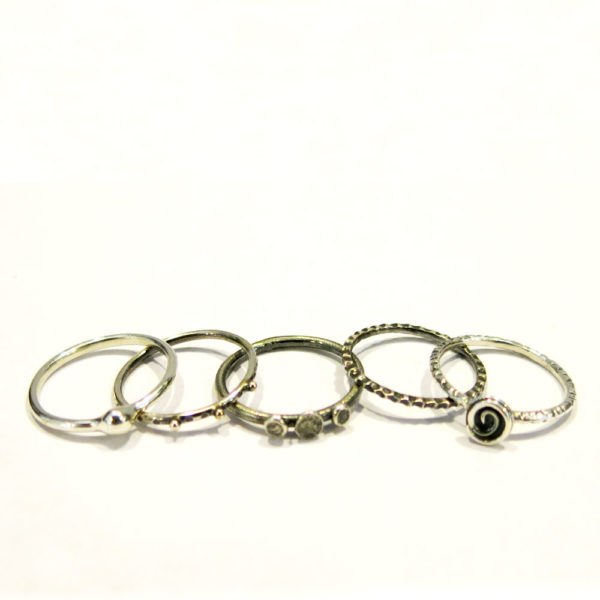 Set Of 5 Sterling Silver Rings