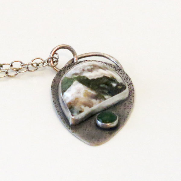 Sterling Silver Pendant with Plume Agate and Green Serpentine Stone