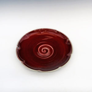 Porcelain Lotus Bowl with Burgundy Glaze
