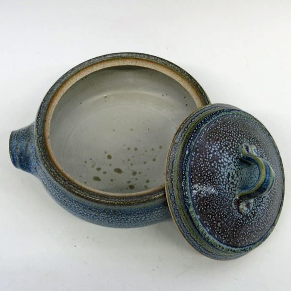 8 Cup Lidded Stoneware Casserole Dish with Oil Spot Blue