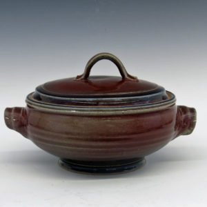8 Cup Lidded Casserole with Burgundy Gloss Glaze