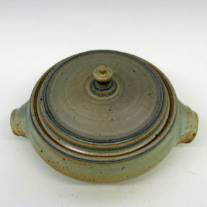 6-7 Cups Ochre and Light Blue Stoneware Lidded Casserole Dish