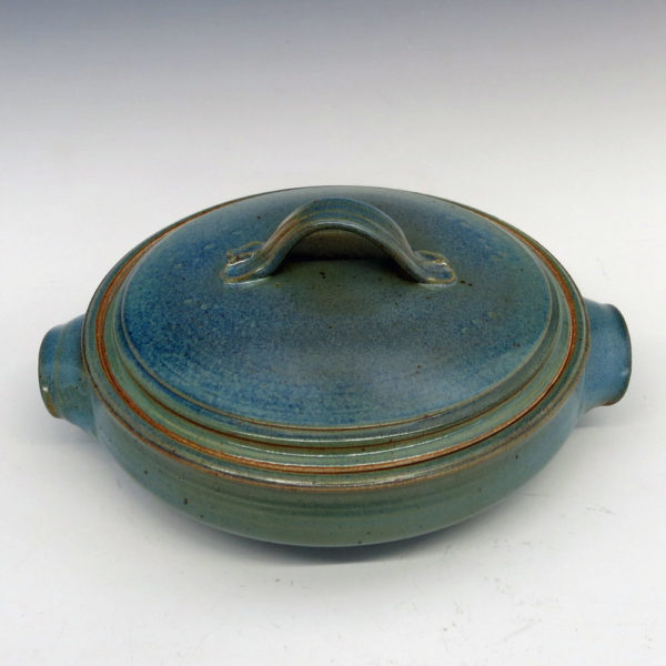 8 Cup Stoneware Lidded Casserole Dish with Blue and Green Glaze