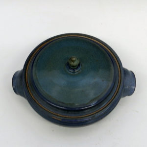 Stoneware Lidded Casserole Dish with a Rich Blue Glaze