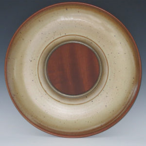 Stoneware Serving Dish With Removable Mahogany Cutting Board