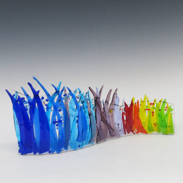 Color Breeze Fused Glass Free Standing Sculpture